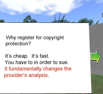 Ben Duranske slide on content theft and copyright in SL