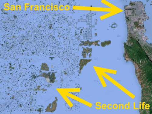 Second Life and San Francisco land mass on Google Maps