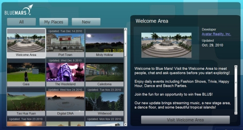 Blue Mars Browser With Sorting
