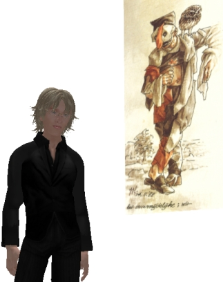 Sander Vos with Peter Vos Drawing in Second Life