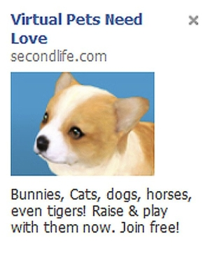 Second Life ad on Facebook