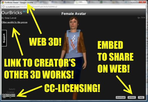 New World Notes: Share 3D Objects and Animated Avatars on the Web