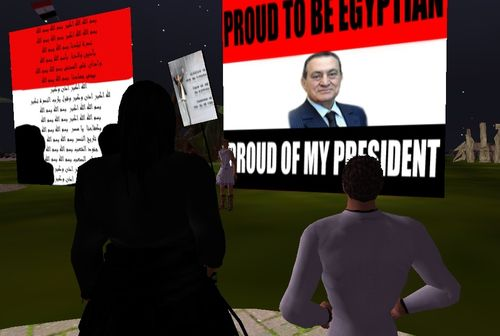 Pro Mubarak Signs in Second Life