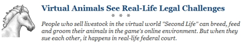 Wall Street Journal Second Life lawsuit article