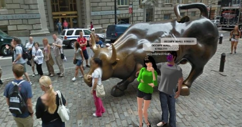 Virtual World Wall Street Protest
