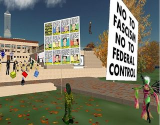 Newt Gingrich protest Second Life