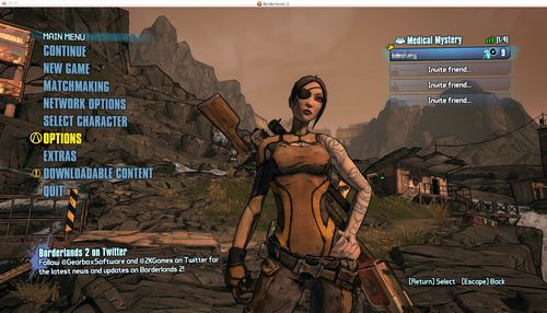 Borderlands 2 Mac OS X Menu