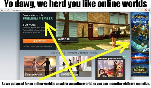 Second Life now advertising for WoW