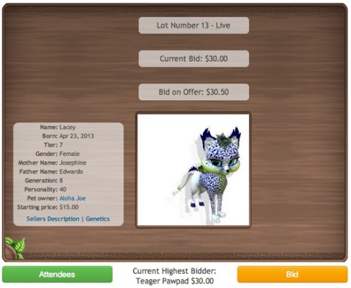 Strangelings Virtual Pet Auction System