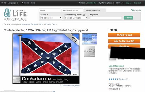 Confederate Flag Second Life Marketplace