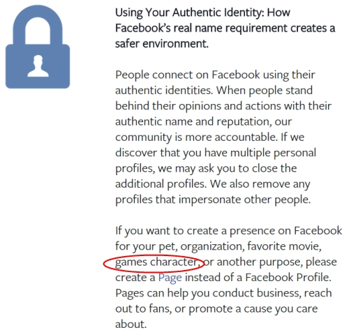 Facebook real name policy avatars