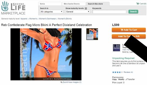 Second Life Confederate Flag Marketplace