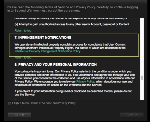 New World Notes New Second Life Terms Of Service Agreement Includes