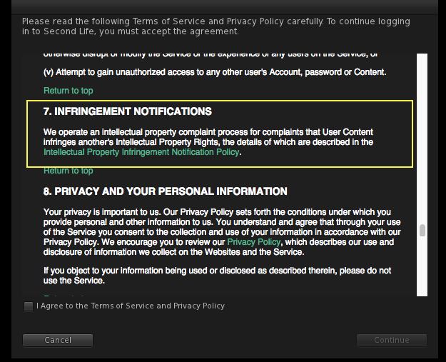 Second Life Terms of Service 2017