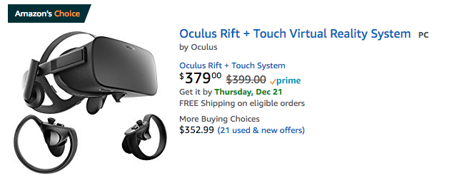 Oculus VR sale Amazon