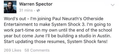 System Shock 3 Warren Spector