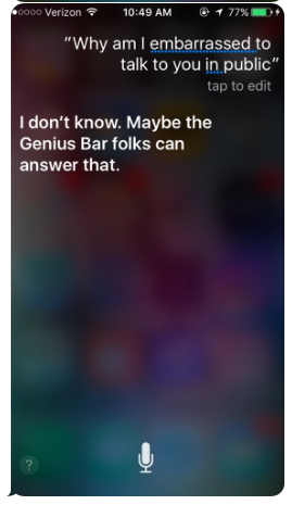 Siri embarassed to talk to you iOS AI