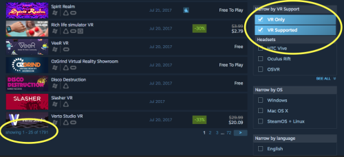 VR software on Steam