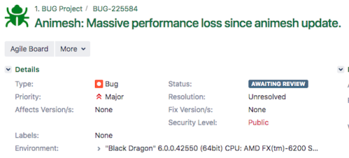 Black Dragon JIRA bug